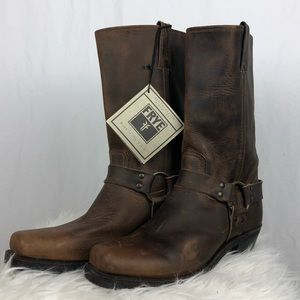 Frye Brown Leather Harness Boots Sz 11 NWT